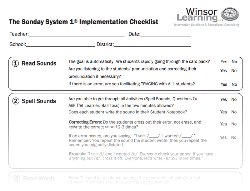 The Sonday System 1® Implementation Checklist